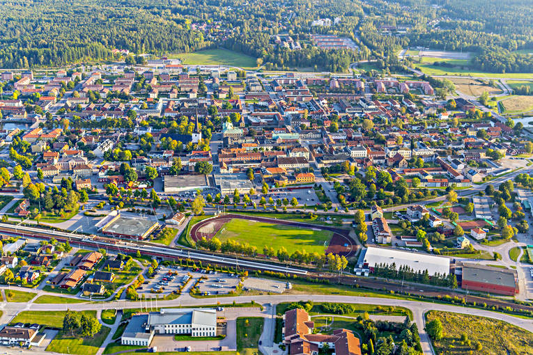 aerial photo, aerial photo, aerial photos, aerial photos, Arboga, drone aerial, drönarfoto, evening light, sports field, städer, Västmanland