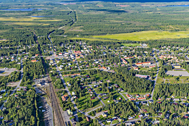 aerial photo, aerial pictures, banvall, drone aerial, Jörn, railway, samhällen, summer, West Bothnia
