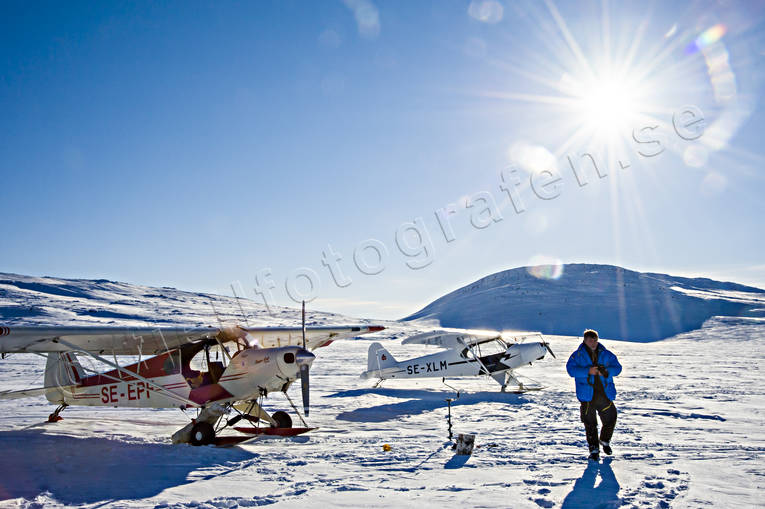 aviation, backlight, communications, Door lake, fly, Jamtland, landscapes, Piper Cub, season, seasons, spring-winter, winter, winter flying