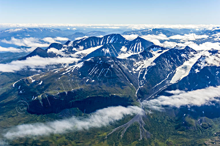 aerial photo, aerial photo, aerial photos, aerial photos, Akka, Akka massif, Akkavare, cloud-tufts, drone aerial, drönarfoto, Great Lakes waterfalls, landscapes, Lapland, mountain pictures, mountain range, national park, summer