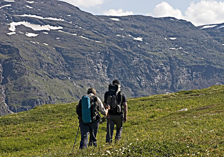 alpine hiking, back-packer, Kärkevagge, landscapes, Lapland, mountain, mountains, nature, outdoor life, summer, wild-life, äventyr