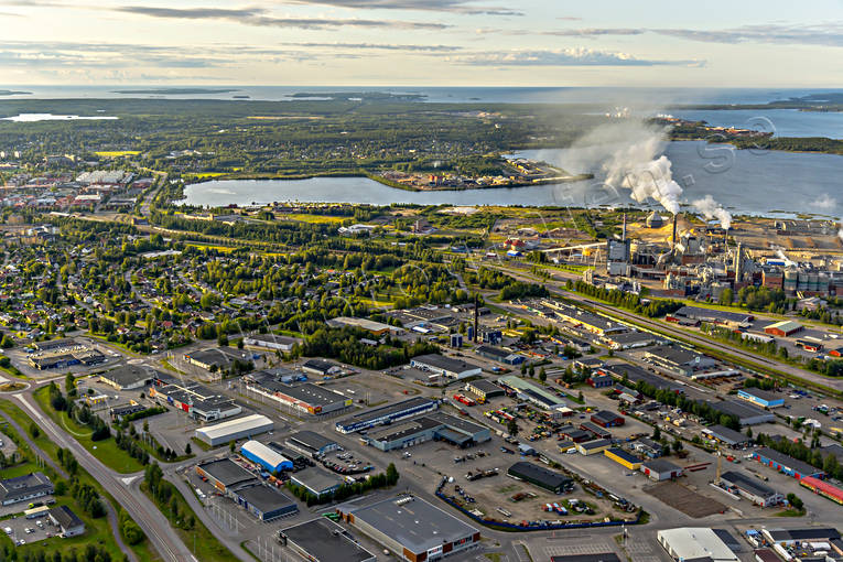 aerial photo, aerial pictures, Backen, drone aerial, industrial area, Kappa, landscapes, North Bothnia, papermill, Pitea, samhällen, Smurfit, summer, Sörfjärden
