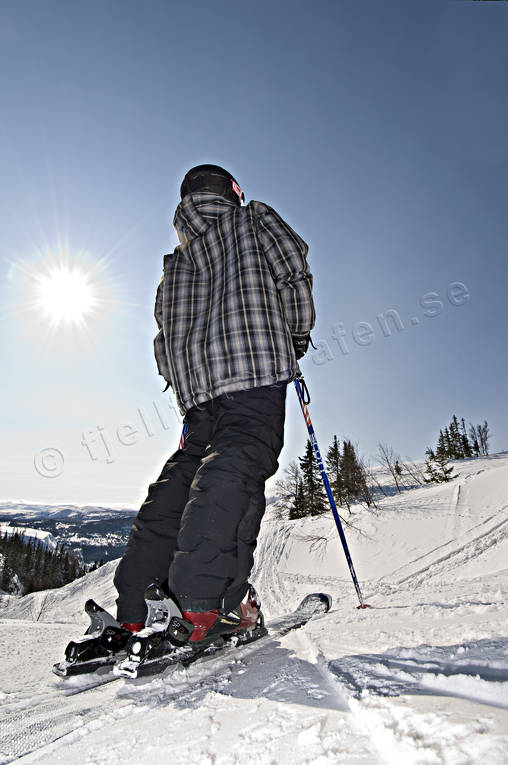 backlight, blue sky, boy, canyon, children, down-hill running, offpist, playtime, skier, skies, skiing, sport, winter