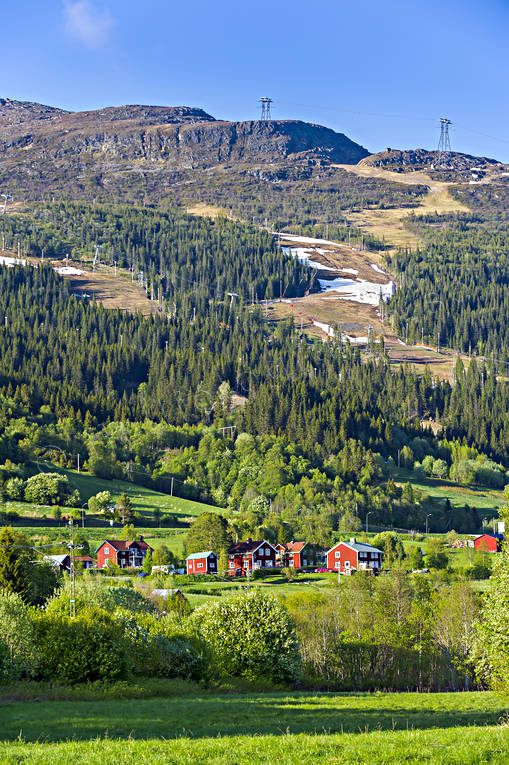 Areskutan, buildings, cabins, farms, house, Jamtland, landscapes, mountain, nature, spring, summer