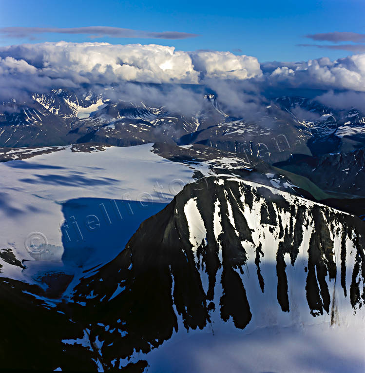 aerial photo, aerial pictures, Channel Mount, drone aerial, glacier, Jåkåtjkaskajekna, landscapes, Lapland, mountain pictures, national parks, Sarek, summer