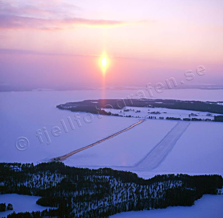 aerial photos, aerial picture, aerial pictures, ferry, ferry track, flygbilder, Great Lake, ice track, Jamtland, landscapes, sunset, Swedish Mountains, winter, winter landscape, winter road