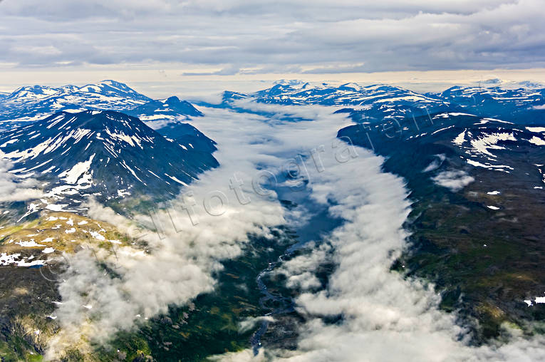 aerial photo, aerial pictures, drone aerial, fog, landscapes, Lapland, mountain pictures, national park, Rappatjårro, Stora Sjöfallets, summer, Teusajaure
