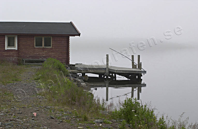 boat house, buildings, engineering projects, fog, lake, Lapland, Torne Träsk