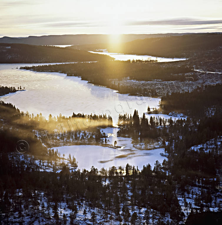 aerial photo, aerial pictures, drone aerial, Forsan, Jamtland, landscapes, sunset, winter, winter landscape
