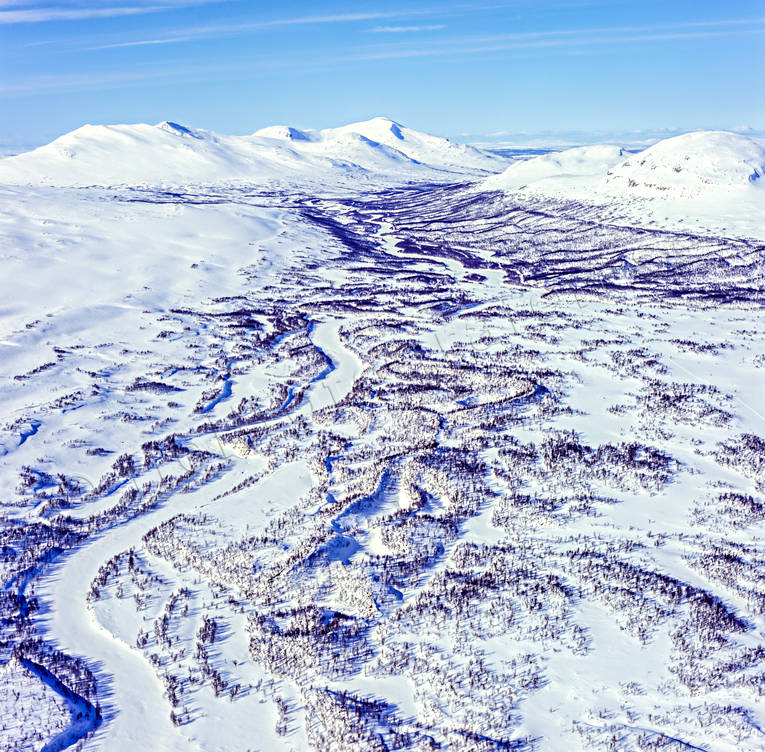 aerial photo, aerial pictures, drone aerial, Handolan, Jamtland, landscapes, mountain pictures, mountain valley, Snasa Mountains, winter