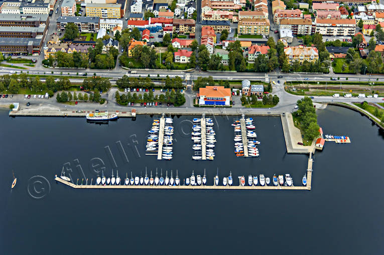 aerial photo, aerial pictures, boats, communications, drone aerial, harbour, Jamtland, Ostersund, port, small-boat harbour, städer, summer, water