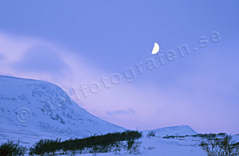 dusk, Härjångsfjällen, Jamtland, landscapes, moon, moonlight, mountain, Valastugan, winter