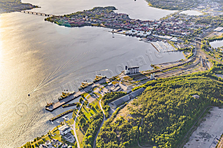 aerial photo, aerial pictures, drone aerial, evening, harbour, isbrytare, Lulea, North Bothnia, städer, summer, sunset
