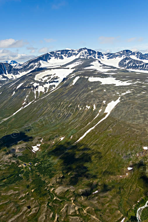 aerial photo, aerial pictures, alpine station, drone aerial, Kebnekaise, Ladtjovagge, landscapes, Lapland, summer, tourist station