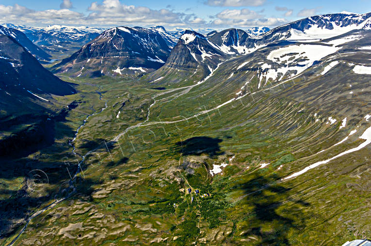 aerial photos, aerial picture, aerial pictures, alpine station, flygbilder, Kebnekaise, Ladtjovagge, landscapes, Lapland, summer, tourist station