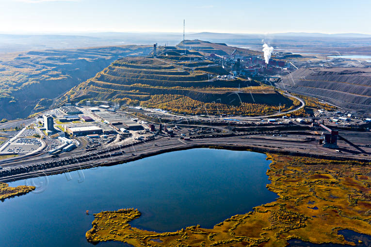 aerial photo, aerial pictures, autumn, drone aerial, järnmalm, Kiruna, Kirunagruvan, landscapes, Lapland, mine, mountain pictures, städer