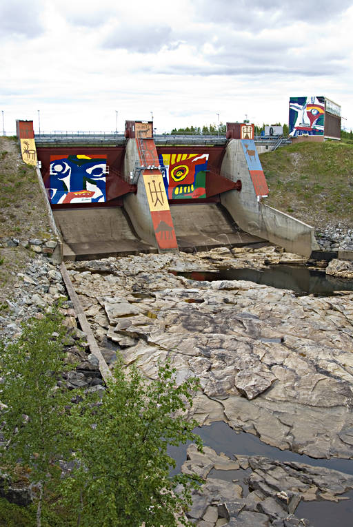 coloring, dam, dam, engineering projects, gaps, hydroelectric installation, Jokkmokk, Lapland, Lindström, power plants, samhällen, works of art