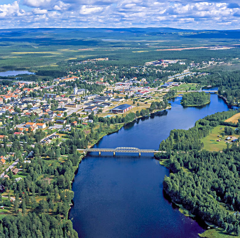 aerial photo, aerial pictures, bridge, bridges, community, drone aerial, Herjedalen, Ljusnan, Mankell Bridge, railway bridge, river, samhällen, summer, Sveg