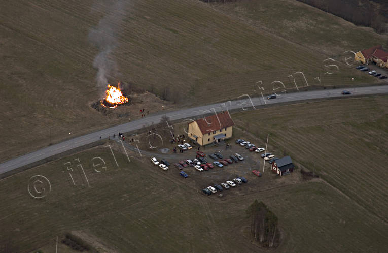 aerial photos, aerial picture, aerial pictures, ambience, ambience pictures, atmosphere, bonfire, cars, fire, flygbilder, Jamtland, may bonfire, may bonfire, NTO, parking-lot, rustic site, season, seasons, sista april, spring, Valbacken, walpurgis