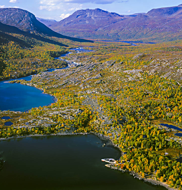 aerial photo, aerial pictures, autumn, drone aerial, fishing camp, jaktcamp, landscapes, Lapland, Makak, Miekak, mountain pictures