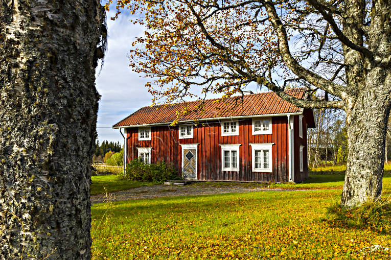 autumn, buildings, farms, house, installations, Jamtland, landscapes, old, rädmålad, Skalstugevägen