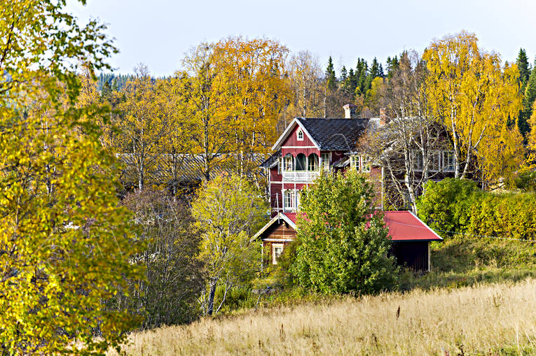 autumn, autumn colours, buildings, farms, house, installations, Jamtland, red-painted