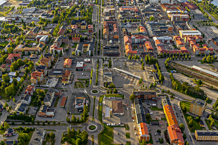 aerial photo, aerial pictures, centre, drone aerial, landscapes, North Bothnia, Pitea, samhällen, summer
