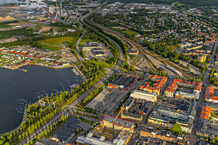 aerial photo, aerial pictures, banvall, centre, Coop, drone aerial, landscapes, North Bothnia, Pitea, railway, samhällen, summer