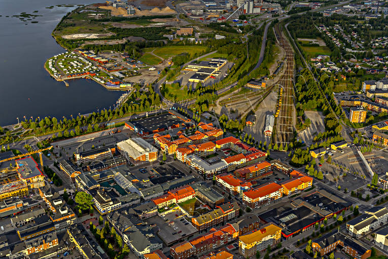 aerial photos, aerial picture, aerial pictures, banvall, centre, flygbilder, landscapes, North Bothnia, Pitea, railway, samhällen, summer