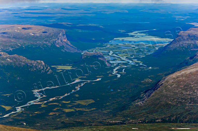aerial photo, aerial pictures, drone aerial, landscapes, Lapland, national park, Rapa Valley, Rapaätno, Sarek, summer