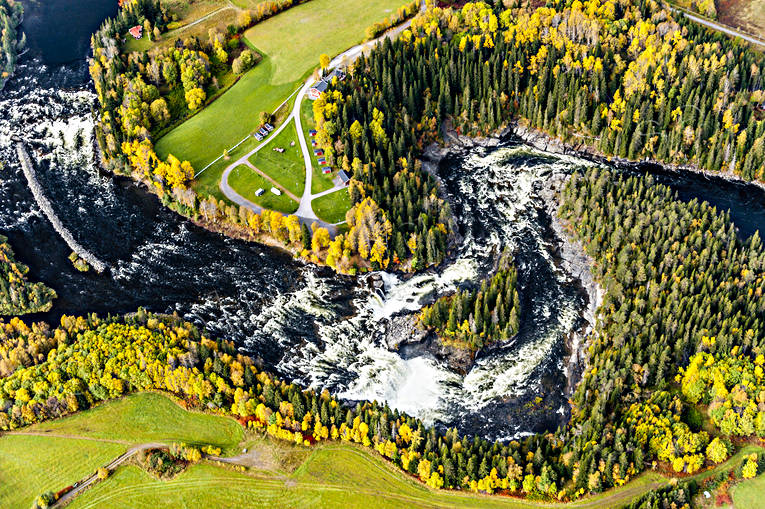 aerial photo, aerial photo, aerial photos, aerial photos, are river, autumn, drone aerial, drönarfoto, fishing spots, Jamtland, Ristafallet, Rista Fall, Swedish Mountains, watercourse