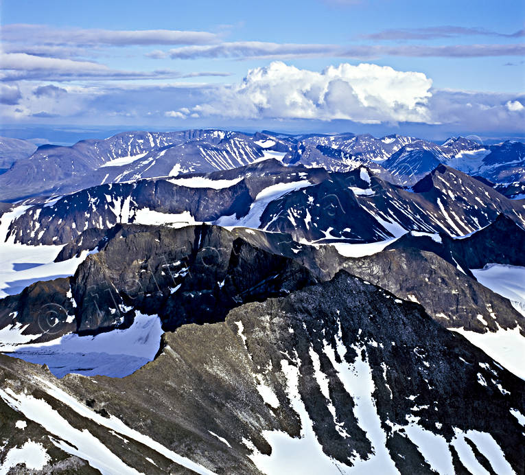 aerial photo, aerial pictures, drone aerial, landscapes, Lapland, mountain, national park, Sarek, summer