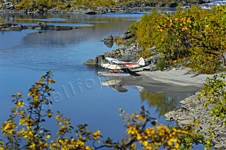 kuoddujaure, landscapes, Lapland, mountain pictures, Piper Cub, Pite river, seaplane, seaplane, summer
