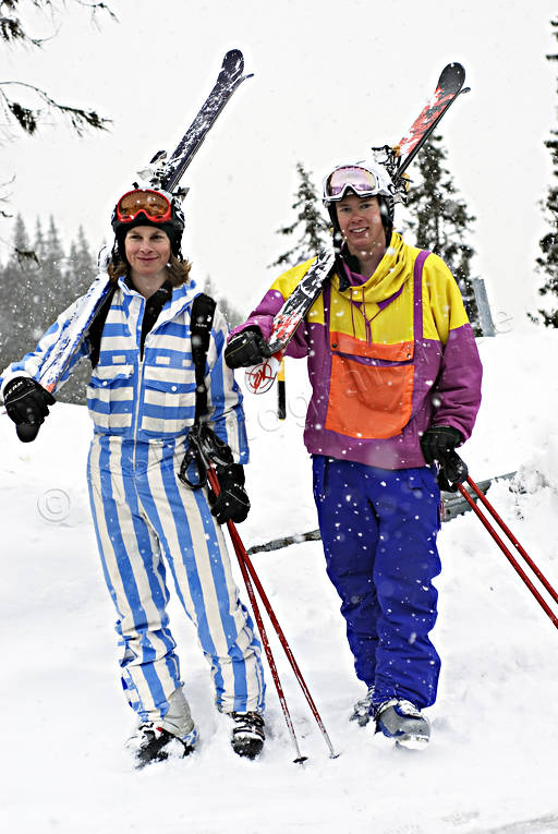 boys, couple, down-hill running, overall, playtime, retro, skier, skies, skiing, sport, winter