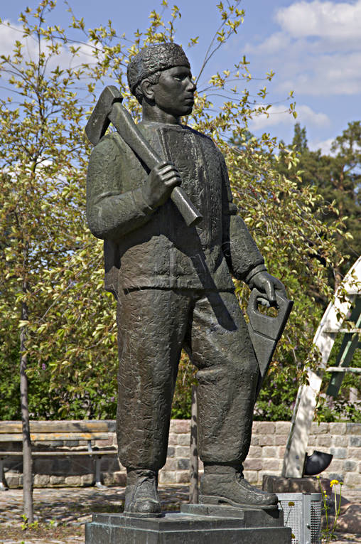 attractions, forest worker, forest worker, forestry, Herjedalen, statue, Sveg, woodcutter, work