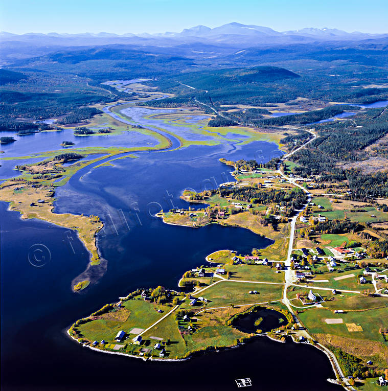 aerial photo, aerial pictures, autumn, drone aerial, Great Lake, Herjedalen, Storsjö, Swedish Mountains