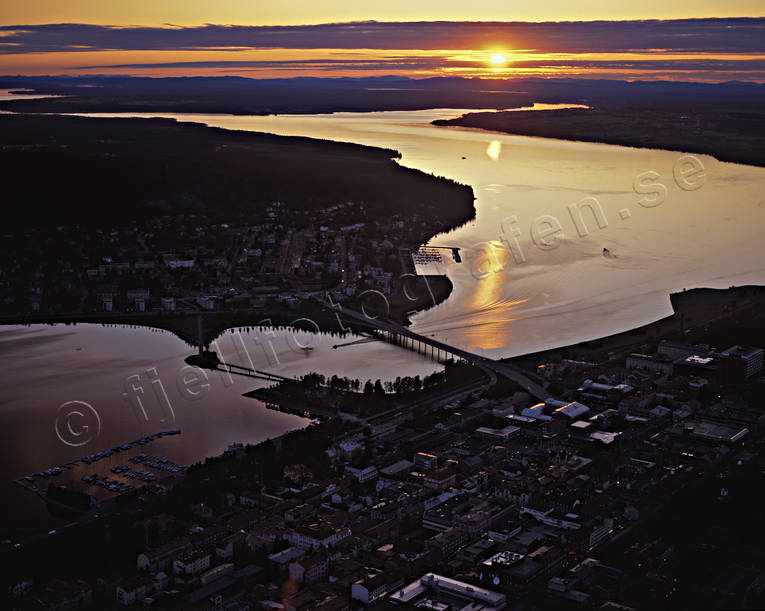 aerial photos, aerial picture, aerial pictures, dusk, evening, flygbilder, froso bridge, Froson, Jamtland, landscapes, night, Ostersund, season, seasons, städer, summer, summer night, sunset, tavla, åssjön