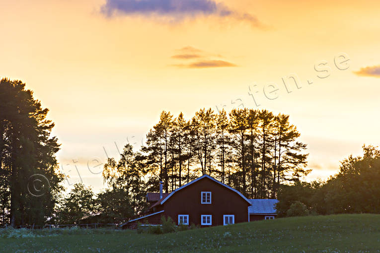 blushing, buildings, cowshed, Jamtland, landscapes, night, sky, summer night