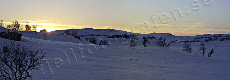 backlight, Hytt lake, Jamtland, landscapes, mountain, mountain crests, panorama, panorama pictures, sunset, winter