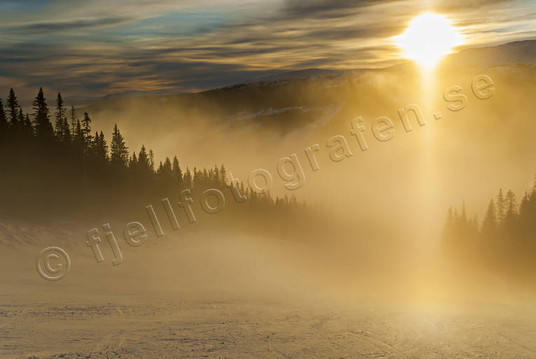 cloud, fog, Jamtland, landscapes, ski-slope, sun, sunset, winter