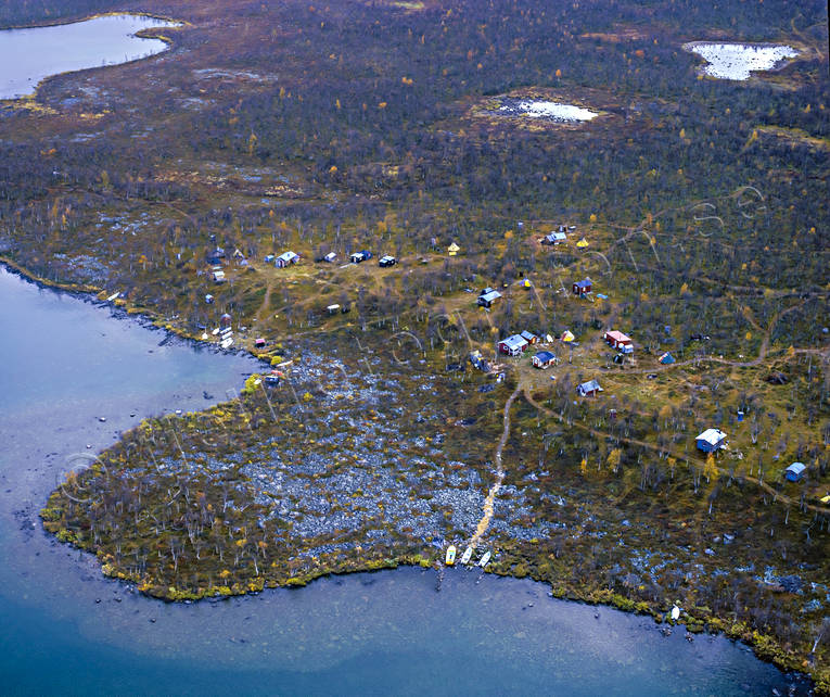 aerial photo, aerial pictures, autumn, cabins, domänreservat, drone aerial, engineering projects, Kåbtåjaure, landscapes, Lapland, mountain pictures, sameviste, sami camp, Sitoätno, Svine