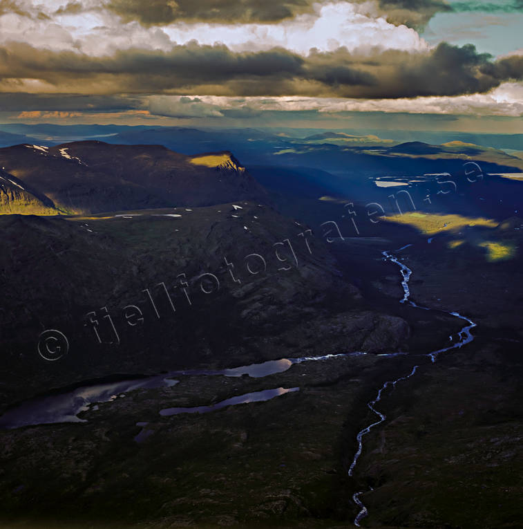 aerial photo, aerial pictures, drone aerial, landscapes, Lapland, Luoppal, mountain pictures, Sarek, summer, Tarradalen, Tarraure, Tarraätno