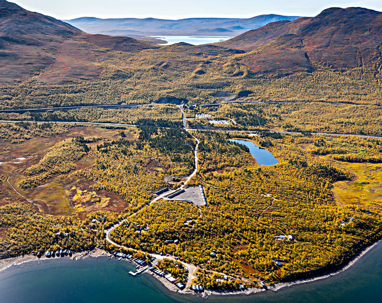 aerial photo, aerial pictures, autumn, drone aerial, fjällbilder, landscapes, Lapland, Malmbanan, Nakerijärvi, railway, station, Swedish Mountains, torne trask, Torneträsk station