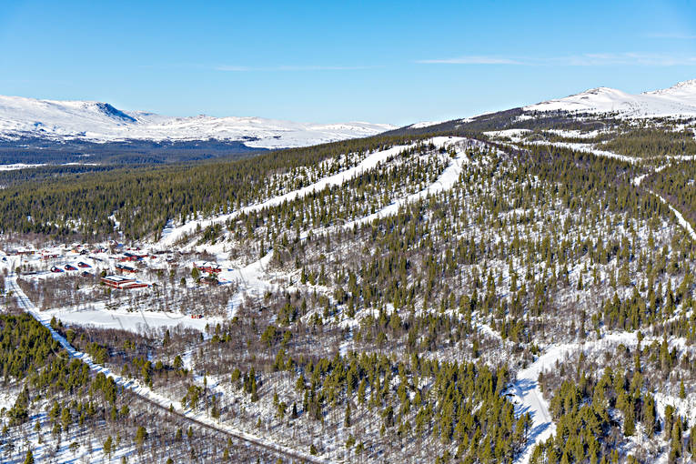 aerial photo, aerial photo, aerial photos, aerial photos, drone aerial, drönarfoto, installations, Jamtland, journeys down, pistes, ski resort, ski resort, ski slopes, Valadalen, winter