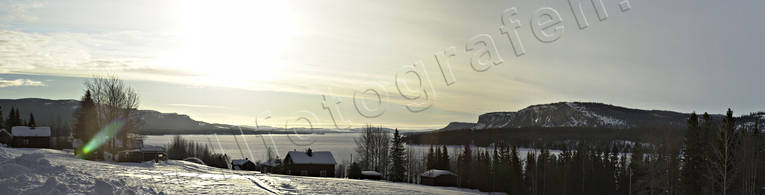 backlight, landscapes, Lapland, panorama, panorama pictures, rivers, sun, Vindel river, winter