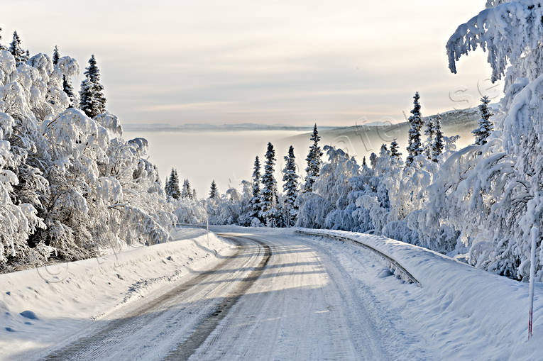 communications, curve, Jamtland, land communication, landscapes, mountain, nature, snow, snow-covered, winter, winter road