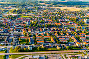 aerial photo, aerial pictures, Arboga, church, churches, drone aerial, evening light, Heliga Trefaldighet, städer, Västmanland