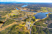 aerial photo, aerial pictures, autumn, drone aerial, E14 highway, Indal river, Jamtland, Krokom, samhällen
