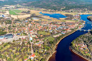 aerial photo, aerial pictures, church, churches, community, Dalarna, drone aerial, Leksand, samhällen, spring