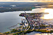 aerial photo, aerial pictures, drone aerial, evening, Lulea, North Bothnia, städer, summer, sunset